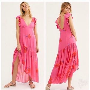 NWT Free People She's a Waterfall Dress Hibiscus 4